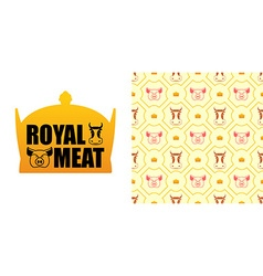 Royal meat excellent tasty beef and pork logo for vector