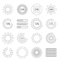 Loading bars and preloaders set outline style vector
