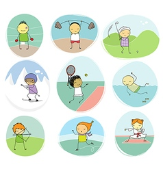 Sport kids doodle collection vector