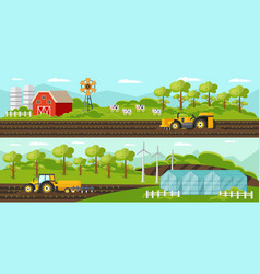Colorful agriculture horizontal banners vector