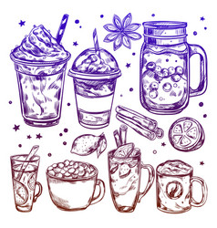 hot winter drinks icon set vector image