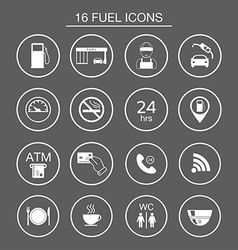 16 gas station icons Fuel silhouette icons vector image vector image