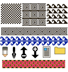 Set of patterns and icons pixel art vector