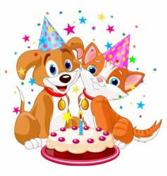 birthday party dog and cat vector image