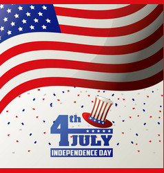 4th july independence day usa flag waving confetti vector