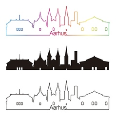 Aarhus skyline linear style with rainbow vector