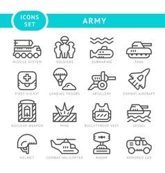 Set line icons of army vector