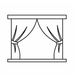 Stage curtains icon in outline style vector