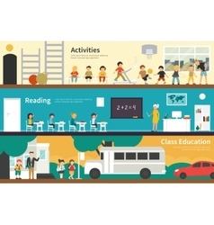 Activities reading class education flat school vector