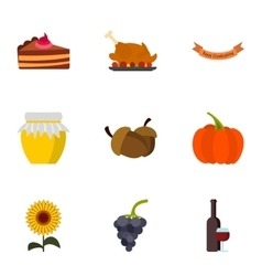 Autumn festival icons set flat style vector