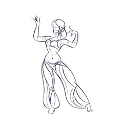 belly dancer ink sketch gesture drawing vector image