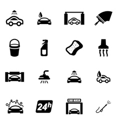 Black car wash icon set vector