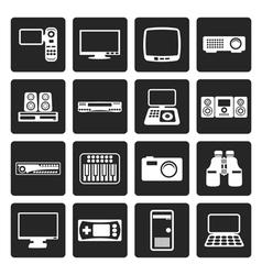 Black hi-tech equipment icons vector