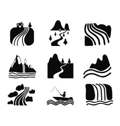 black river icons set vector image vector image