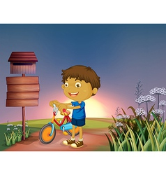Cartoon Bike Boy vector image vector image