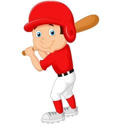 Cartoon boy playing baseball vector