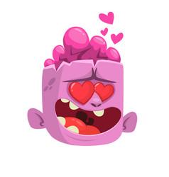 cartoon pink zombie in love vector image vector image