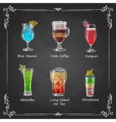 Chalk drawings cocktail menu vector image vector image
