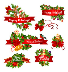 christmas or new year garland ribbon banner design vector image