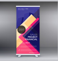 Colorful standee roll up banner design template vector