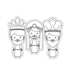 Dotted sticker the three wise men vector