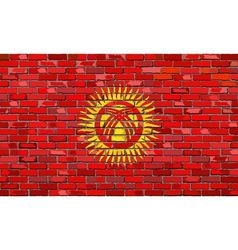 Flag of Kyrgyzstan on a brick wall vector image vector image