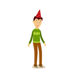flat man standing in party hat vector image vector image