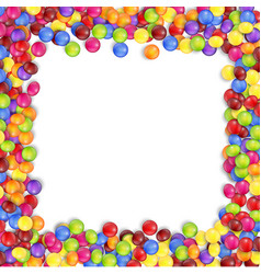 frame of colorful candy on a white background vector image