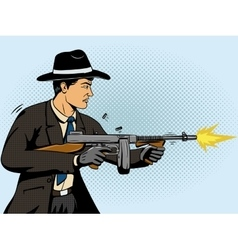 Gangster shoots machine gun pop art vector