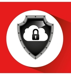 Hand holding cloud security shield data vector