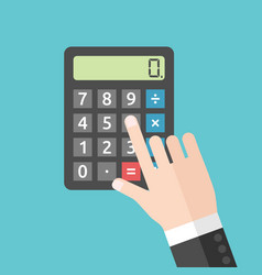 hand pushing calculator button vector image