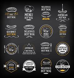 Hot dog badges and menu design elements vector image vector image