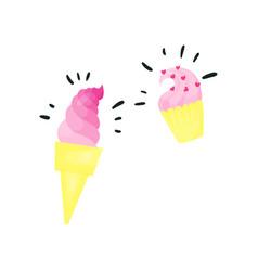 pink magic ice cream vector image vector image