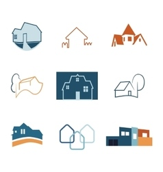 Real Estate web icons set House logos vector image