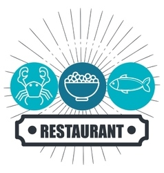 restaurant seafood delicacies isolated icon design vector image