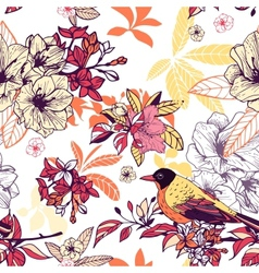 Seamless floral pattern with bird vector image vector image