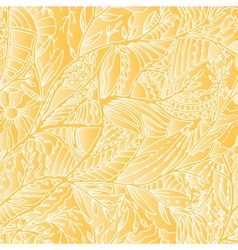 Seamless hand drawn pattern with leaves and sun vector image vector image
