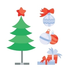 Set of objects for creation christmas holiday tree vector