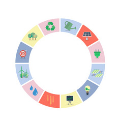 Set of sustainable icons in circle shape vector