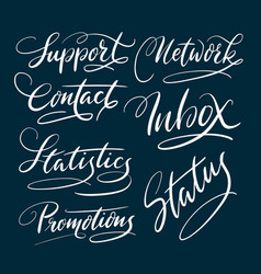 Support and contact hand written typography vector