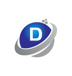 technology motion synergy letter d vector image