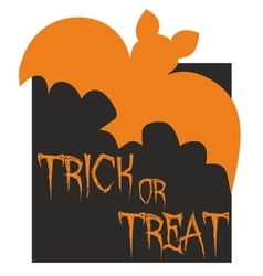 Trick or treat card with bat vector image vector image