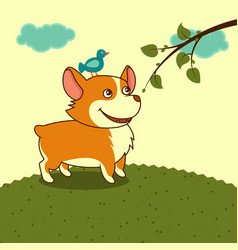 Welsh corgi dog in the meadow in yellow sky vector