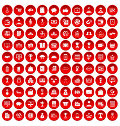 100 business icons set red vector