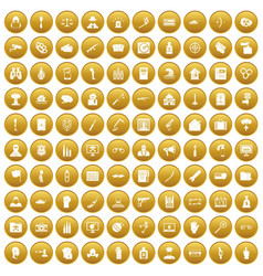 100 violation icons set gold vector