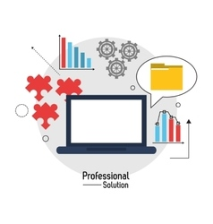 Laptop file and infographic con proffesional vector