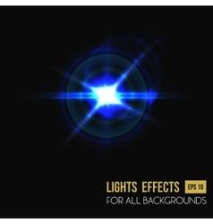 Light effect of sun burst through lens glass vector