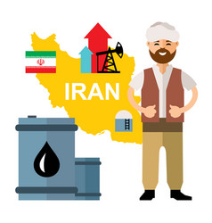 iran oil industry flat style colorful vector image