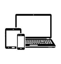 responsive design laptop tablet and smartphone vector image