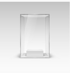 Glass showcase for presentation with shadow on vector
